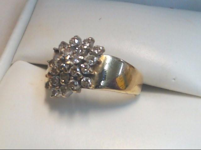 Lady's Diamond Cluster Ring 22 Diamonds .66 Carat T.W. 14K Yellow Gold 3g