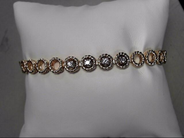 Gold-Diamond Bracelet 4 Diamonds .24 Carat T.W. 14K Yellow Gold 19.35g