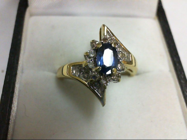 Sapphire Lady's Stone & Diamond Ring 8 Diamonds 0.08 Carat T.W. 18K Yellow Gold
