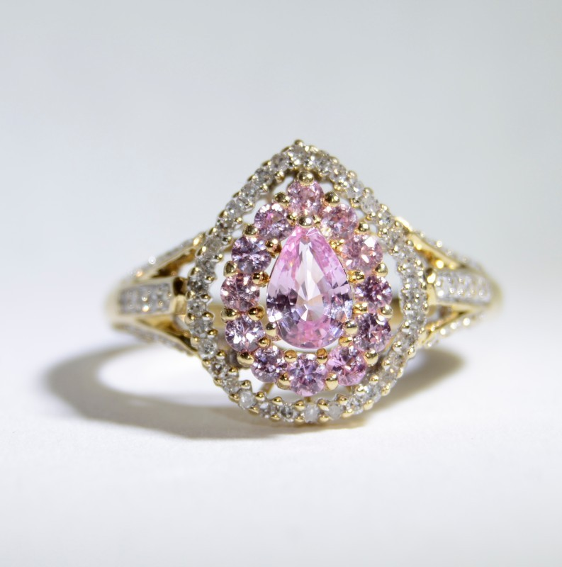 14K Yellow Gold Split Shank Cathedral Synthetic Pink Sapphire & Diamond Ring 6.5