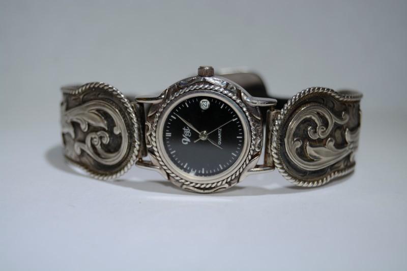 Vintage Vogt Sterling Silver Women's Leather Band Floral Filigree Watch *WORKS*