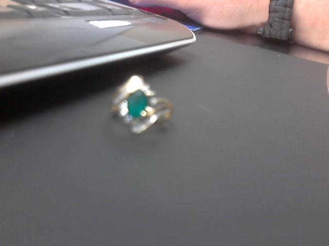 Synthetic Emerald Lady's Stone & Diamond Ring 14 Diamonds .070 Carat T.W.