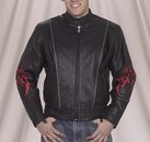 DEALER LEATHER MJ782-09-C 58; MENS RACER JACKET WITH FLAME