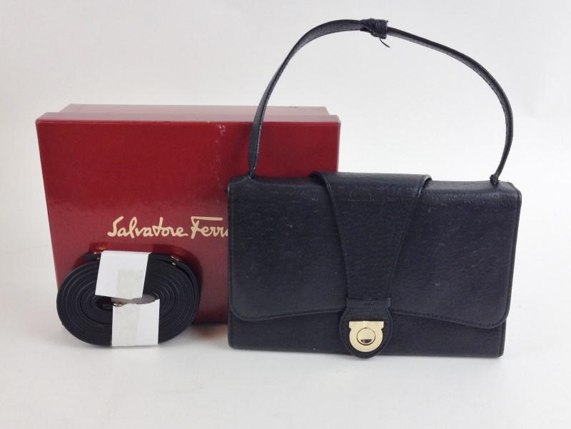 SALVATORE FERRAGAMO BLACK LEATHER WAIST BAG & WRISTLET