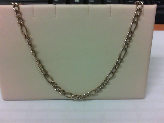"""26"""" Gold Figaro Chain 10K Yellow Gold 20.63g"""