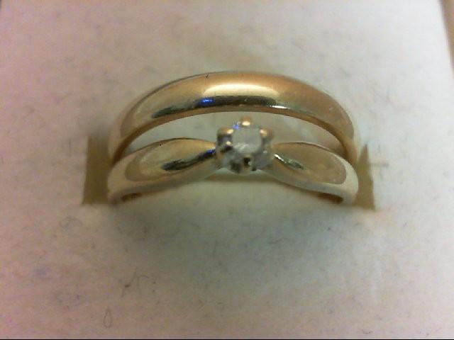 Lady's Diamond Wedding Set 0.05 CT. 10K Yellow Gold 3.3g Size:6