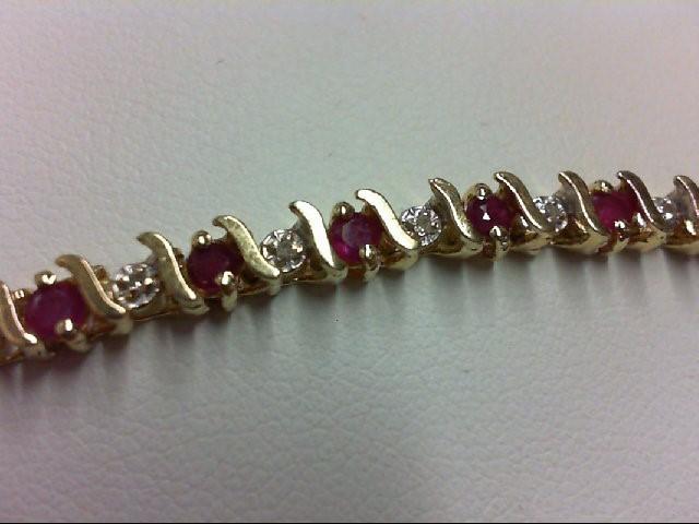 Ruby Gold-Diamond & Stone Bracelet 25 Diamonds 0.25 Carat T.W. 14K Yellow Gold 8