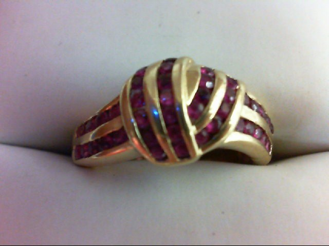 Ruby Lady's Stone Ring 10K Yellow Gold 3g