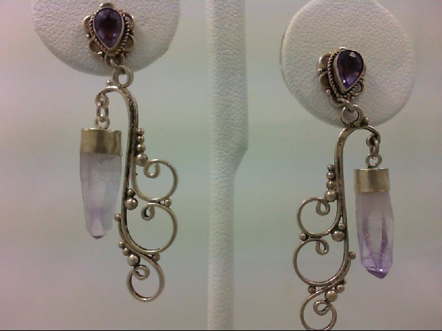 Amethyst Silver-Stone Earrings 925 Silver 4.4g