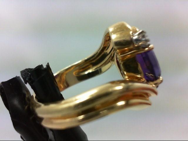 Amethyst Lady's Stone & Diamond Ring 2 Diamonds 0.06 Carat T.W. 14K Yellow Gold