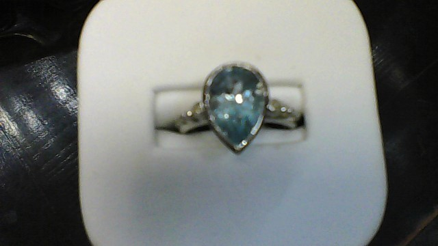 Synthetic Blue Topaz Lady's Stone & Diamond Ring 2 Diamonds .06 Carat T.W.