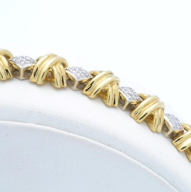 VINTAGE DIAMOND BRACELET REAL SOLID 18K GOLD TENNIS XO HEAVY 33.7g