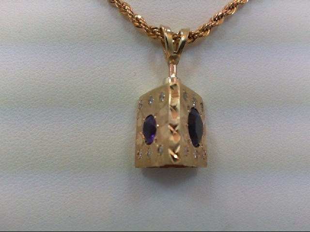 Amethyst Gold-Diamond & Stone Pendant 18 Diamonds 0.18 Carat T.W. 14K Yellow Gol