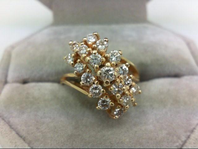 Lady's Diamond Cluster Ring 19 Diamonds 0.96 Carat T.W. 14K Yellow Gold 5.6g Siz
