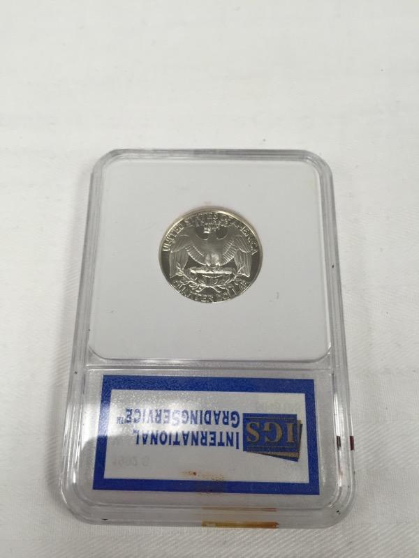 1992 S Silver Proof Wasington Quarter 25c IGS Graded PR-70 DCAM