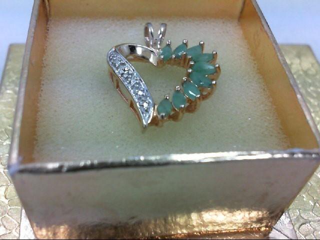 Emerald Silver-Diamond & Stone Pendant 0.01 CT. 925 Silver 0.2g