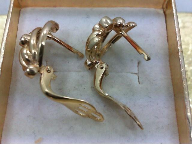 Gold-Diamond Earrings 6 Diamonds .30 Carat T.W. 14K Yellow Gold 3.7g