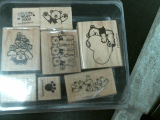 4 STAMPIN UP SETS, 3 SANDWICH BAGS WITH ASST OF STAMPS