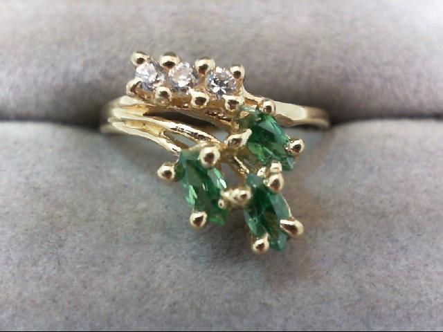 Lady's Stone & Diamond Ring 14K Yellow Gold 2.4g