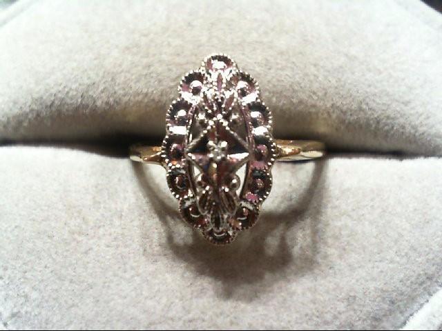 Lady's Diamond Fashion Ring .01 CT. 10K 2 Tone Gold 2.4g