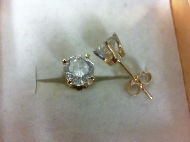 Gold-Diamond Earrings 2 Diamonds 1 Carat T.W. 14K Yellow Gold 1.1g