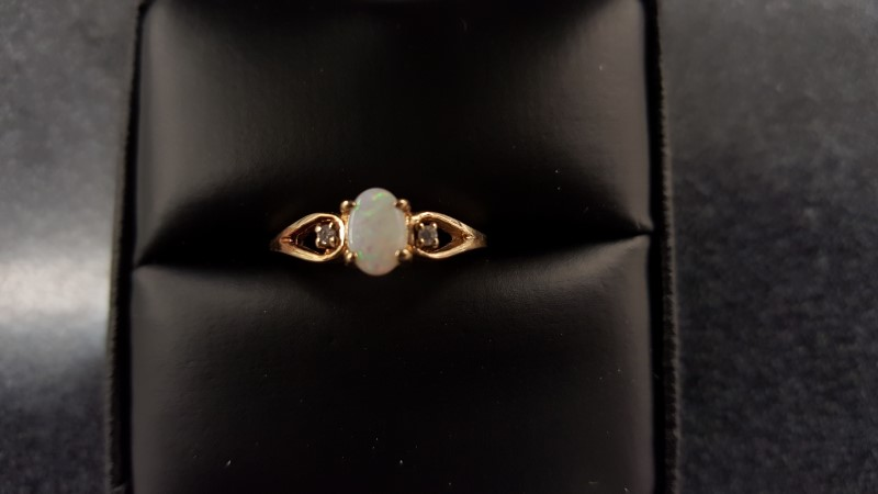 Synthetic Opal Lady's Stone & Diamond Ring 2 Diamonds .02 Carat T.W.