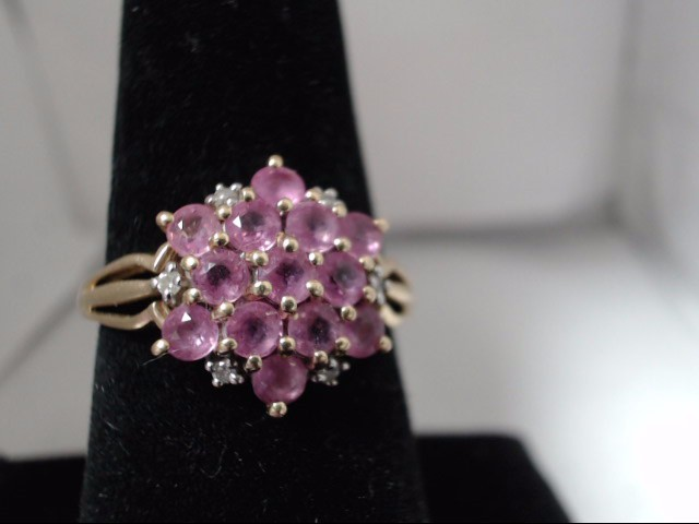 Synthetic Pink Stone Lady's Stone & Diamond Ring 6 Diamonds 0.06 Carat T.W. 14K