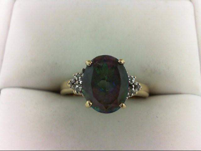 Synthetic Purple Stone Lady's Stone & Diamond Ring 6 Diamonds 0.06 Carat T.W. 10