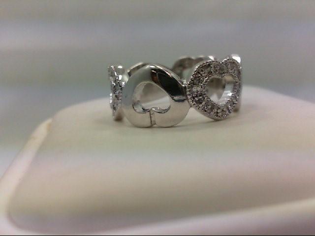 Lady's Silver-Diamond Ring 30 Diamonds 0.3 Carat T.W. 925 Silver 5g Size:5.75