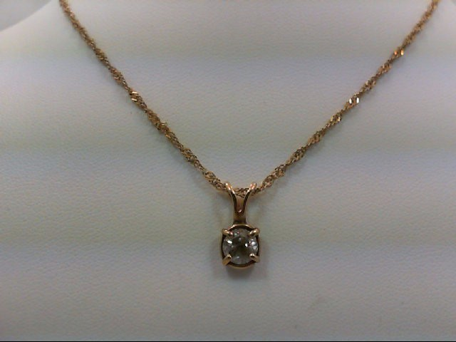 Gold-Diamond Solitaire Pendant 0.75 CT. 14K Yellow Gold 2.6g