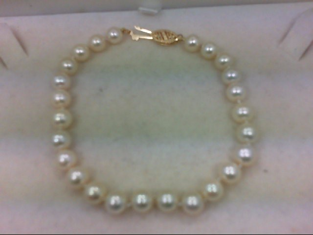 Pearl Gold-Stone Bracelet 14K Yellow Gold 8.7g