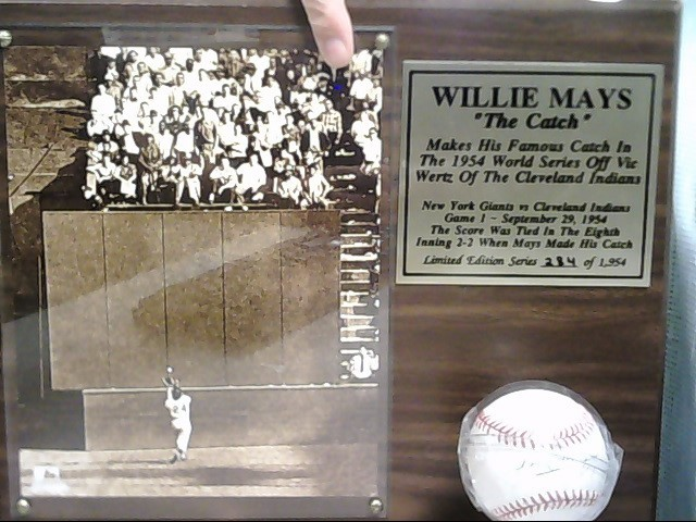 "STACKS OF PLAQUES WILLIE MAYS ""THE CATCH"" PLAQUE & BALL"