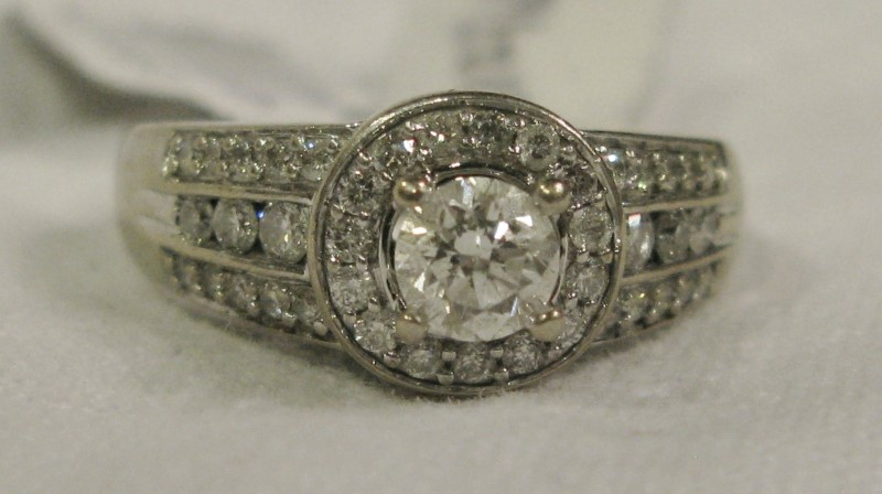 Diamond HALO Ring .50 Center & 41 Pave Diamonds, 1+ Carat TW, Size 7