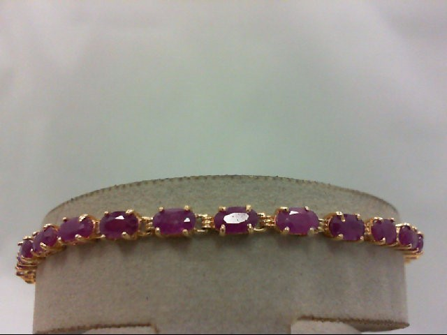 Ruby Gold-Stone Bracelet 14K Yellow Gold 5.42g