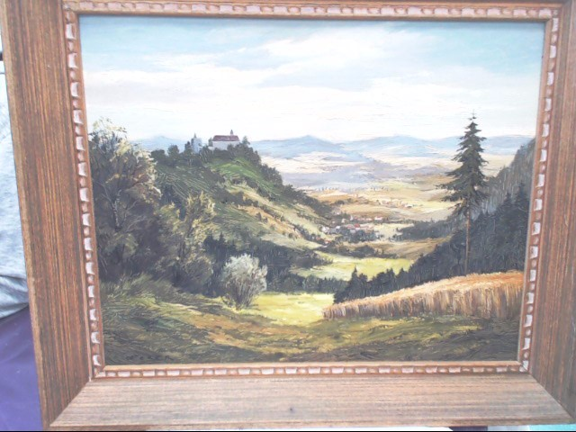 CHURCH ON A HILL OIL PAINTING