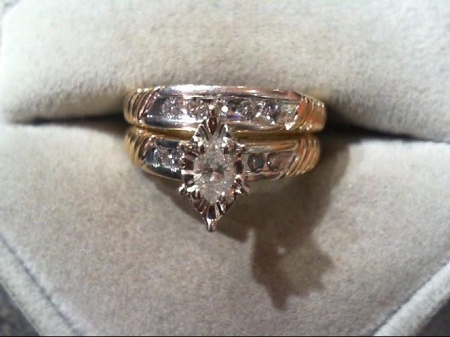 Lady's Diamond Wedding Set 9 Diamonds .41 Carat T.W. 10K 2 Tone Gold 5.9g