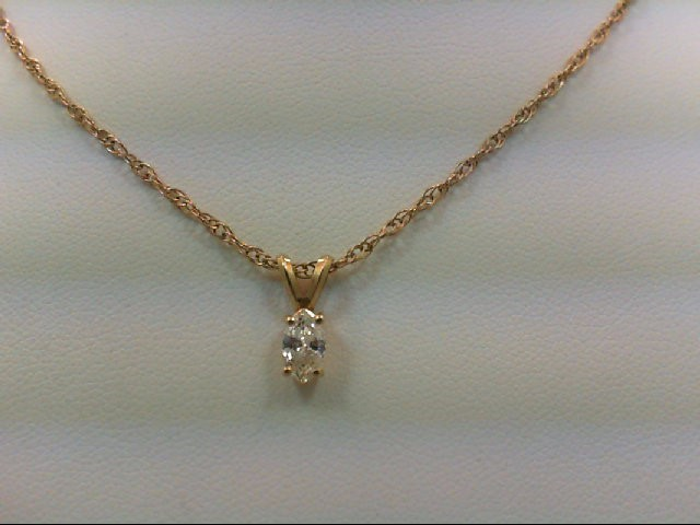 Gold-Diamond Solitaire Pendant .32 CT. 14K Yellow Gold 2.3g