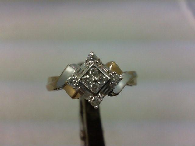 Lady's Diamond Engagement Ring 12 Diamonds .40 Carat T.W. 10K 2 Tone Gold 2.9g