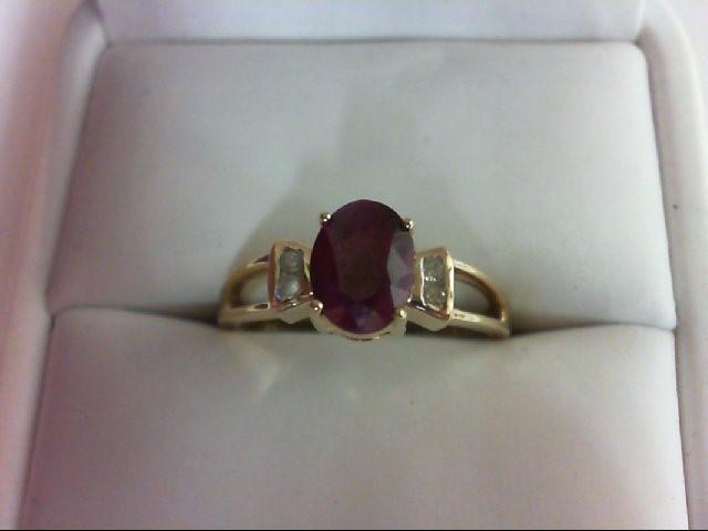 Ruby Lady's Stone & Diamond Ring 4 Diamonds .08 Carat T.W. 10K Yellow Gold 2.7g