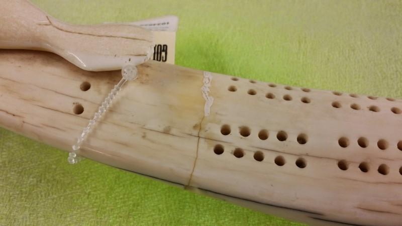 Skrimshaw Walrus Tusk Cribbage Board With Walrus/Seals (Repaired)