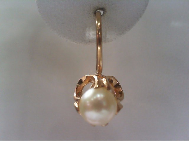 Pearl Gold-Stone Earrings 14K Yellow Gold 3.7g
