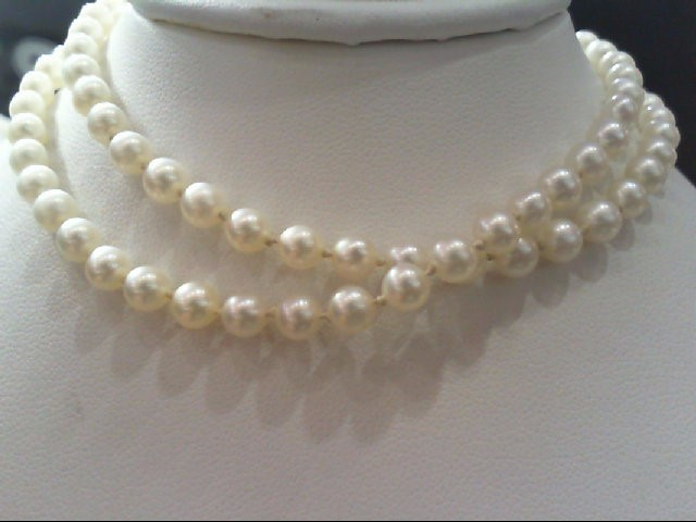 "18"" Synthetic Pearl Strand Stone Necklace 10K Yellow Gold 11.2g"