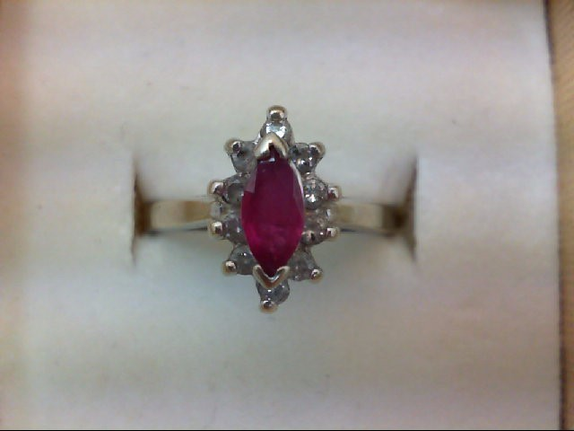 Ruby Lady's Stone & Diamond Ring 10 Diamonds .10 Carat T.W. 14K White Gold 2.9g