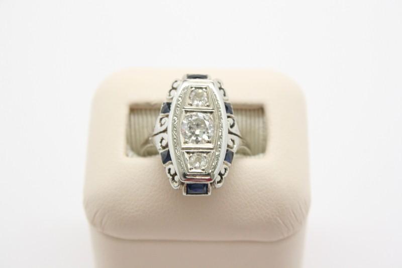 Sapphire Lady's Stone & Diamond Ring 3 Diamonds .70 Carat T.W. 14K White Gold