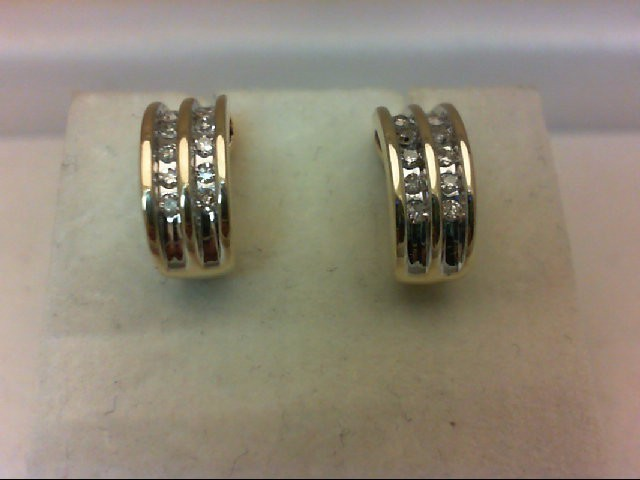 Gold-Diamond Earrings 20 Diamonds 0.2 Carat T.W. 14K Yellow Gold 2.6g
