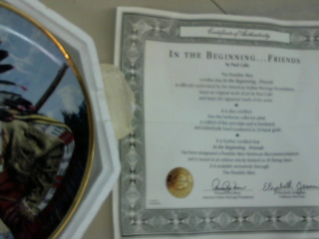 """FRANKLIN MINT PLATE """"In the Begining...Friends"""""""
