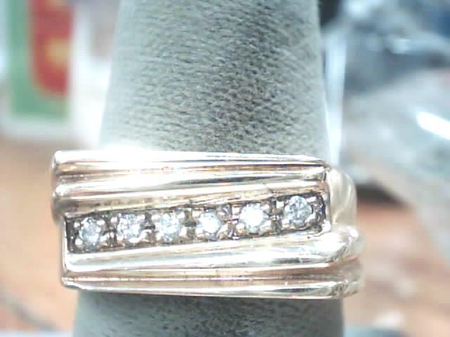 Gent's Diamond Fashion Ring 6 Diamonds .12 Carat T.W. 14K Yellow Gold 7.7dwt