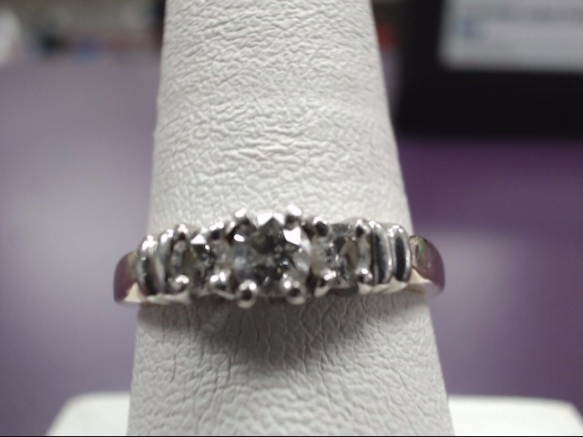 Lady's Diamond Engagement Ring 3 Diamonds .40 Carat T.W. 14K Yellow Gold 3.48g