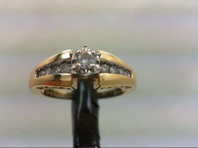Lady's Diamond Wedding Band 9 Diamonds 0.28 Carat T.W. 14K Yellow Gold 4.5g