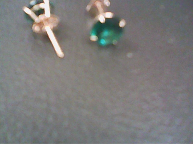 Synthetic Emerald Gold-Stone Earrings 10K Yellow Gold 0.5g